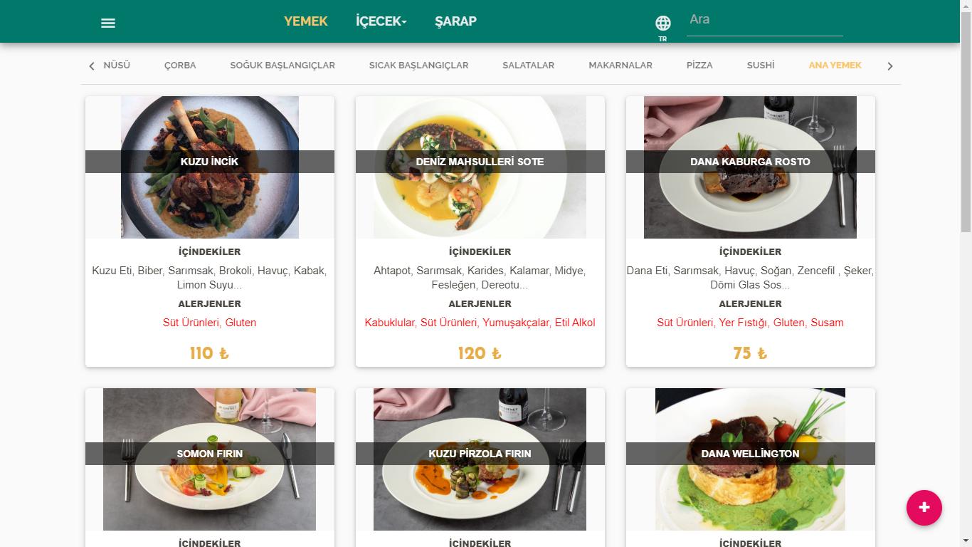 online menü